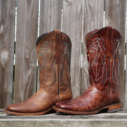 Tan and Brown Square Toe Cowgirl Boot with Embroidery and Leather Sole