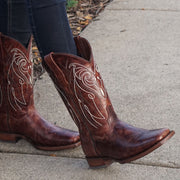 Girl wearing Soto Boots Broad Square Toe Brown Cowgirl Boot M50037