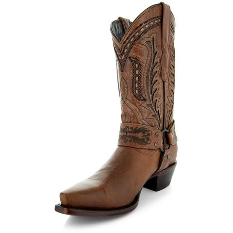 Womens Brown Leather Harness Cowgirl Boots M50039 With Leather Sole and Embroidery Angled View