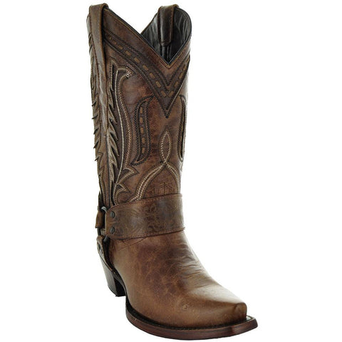 Womens Brown Leather Harness Cowgirl Boots M50039 With Leather Sole and Embroidery Main View