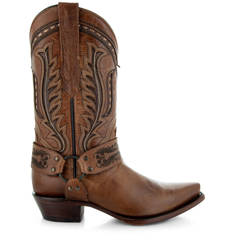 Womens Brown Leather Harness Cowgirl Boots M50039 With Leather Sole and Embroidery Side View