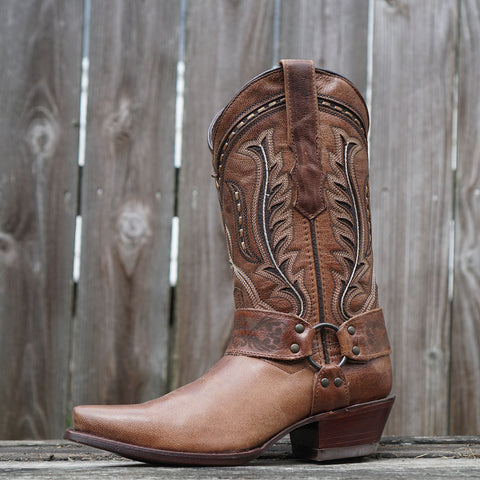 Womens Brown Leather Harness Cowgirl Boots M50039 With Leather Sole and Embroidery