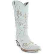 Soto Boots Women's White Leather Wedding Cowgirl Boots M50040 with Cross Embroidery