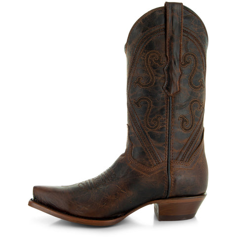 Soto Boots Womens Snip Toe Cowgirl Boots M50041 Brown Side