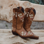 Soto Boots Womens Floral Embroidery Vintage Snip Toe CowGirl Boots White Pink Yellow Flowers