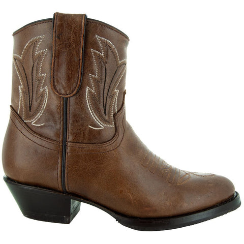 Women's Ankle Cowboy Boots with Western Stitching (M50046)
