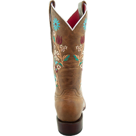 Soto Boots Women Floral Embroidery Square Toe Boots M9001 Tan