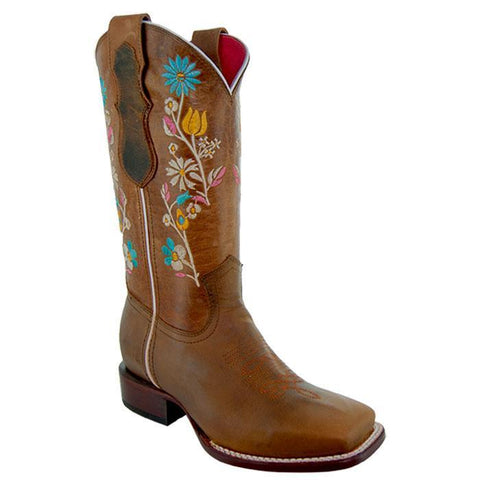 Soto Boots Women Floral Embroidery Square Toe Boots M9001 Brown Main