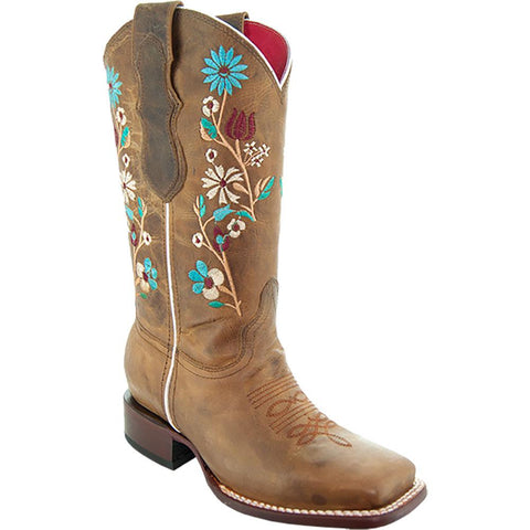 Soto Boots Women Floral Embroidery Square Toe Boots M9001 Tan Main