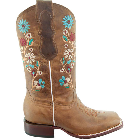 Soto Boots Women Floral Embroidery Square Toe Boots M9001 Tan Side