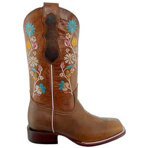 Soto Boots Women Floral Embroidery Square Toe Boots M9001 Brown Side