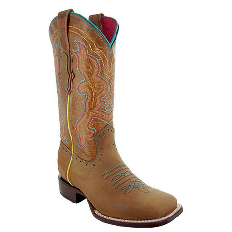Soto Boots Womens Embroidered Square Toe Boots M9002 Tan Main