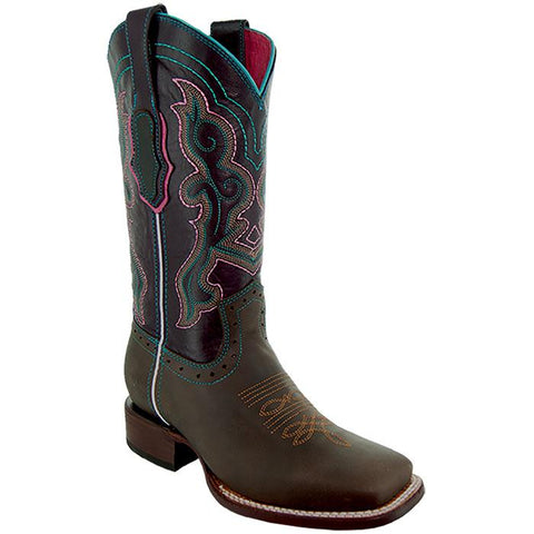 Soto Boots Womens Embroidered Square Toe Boots M9002 Brown Side