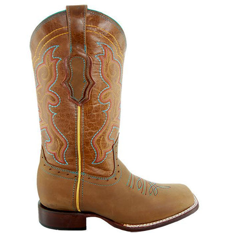 Soto Boots Womens Embroidered Square Toe Boots M9002 Tan Side