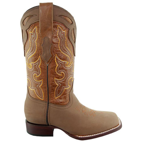 Soto Boots Womens Square Toe Boots M9003 Tan Side