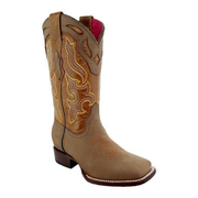 Sofia Women's Broad Square Toe Tan Cowgirl Boots by Soto Boots M9003