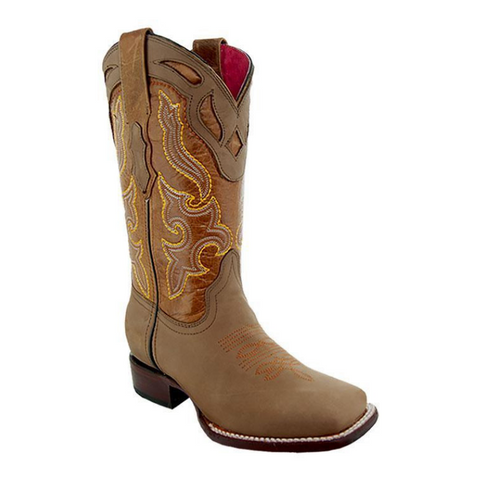 Sofia Women's Broad Square Toe Tan Cowgirl Boots by Soto Boots M9003 - Soto Boots