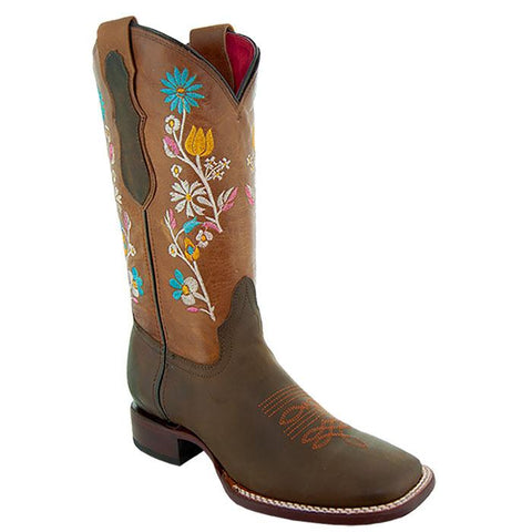 Soto Boots Womens Floral Broad Square Toe Cowgirl Boots M9004 Brown Main