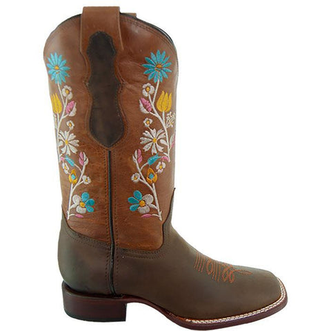 Soto Boots Womens Floral Broad Square Toe Cowgirl Boots M9004 Brown Side