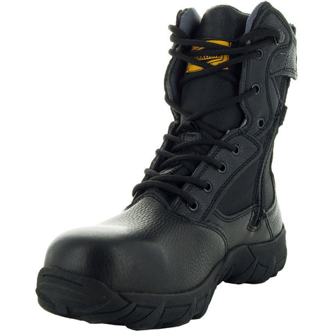 Black Tactical Leather and Nylon Men's Military Style Work Boots 76241 with Rubber Soles and Composition Toe Main View 2