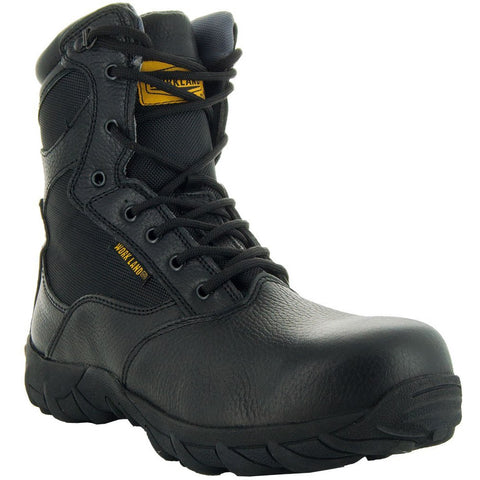 Black Tactical Leather and Nylon Men's Military Style Work Boots 76241 with Rubber Soles and Composition Toe Main View
