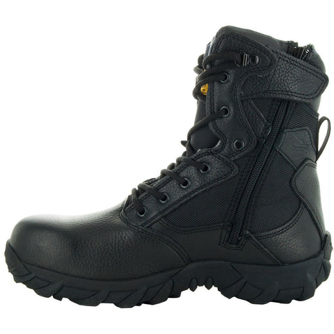 Black Tactical Leather and Nylon Men's Military Style Work Boots 76241 with Rubber Soles and Composition Toe Side View