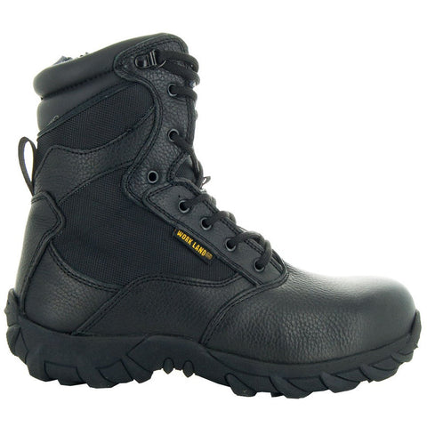 Black Tactical Leather and Nylon Men's Military Style Work Boots 76241 with Rubber Soles and Composition Toe Side View 2