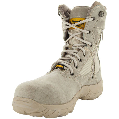 Sand Tactical Leather and Nylon Men's Military Style Work Boots 76241 with Rubber Soles and Composition Toe Main View 2