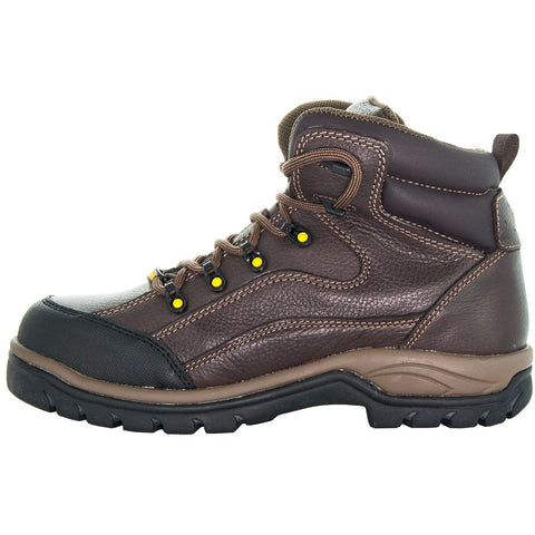 Brown,High Top ankle, Brown Shoe Lace, Oil Resistant, Terrain Men's Work Boots 77403 Side View, Facing Left