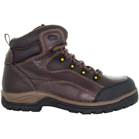 Brown,High Top ankle, Brown Shoe Lace, Oil Resistant, Terrain Men's Work Boots 77403 Side View, Facing Right