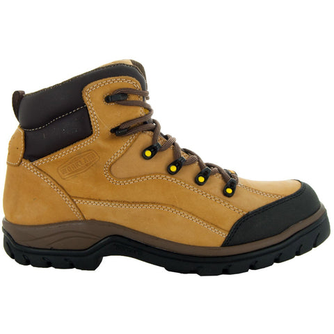 Wheat, High Top ankle, Brown Shoe Lace, Oil Resistant, Terrain Men's Work Boots 77403 Side View, Facing Right