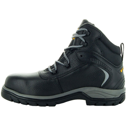 Steelton Men's Leather Work Boots 77443 in Black, Side View Facing Left