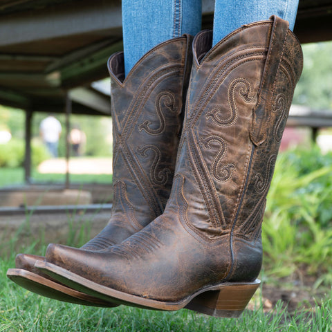 Cheyenne Cowgirl Boots | Women's Snipped Toe Leather Boots (M50041)