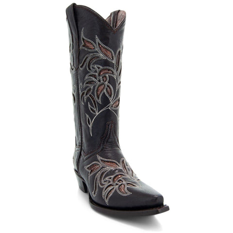 Soto Boots Womens Floral Embroidered Inlay Cowgirl Boots M50049 Brown - Soto Boots