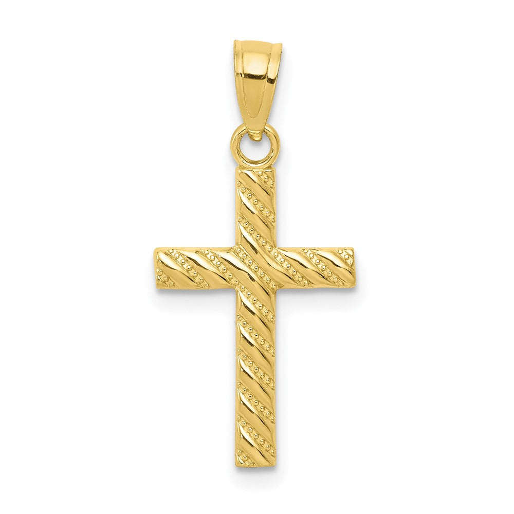 QG 10k Cross Pendant | Traditional Latin Cross Style | Men's | Women's | Pendants & Charms | 10k Yellow Gold | Size 25 mm x 12 mm