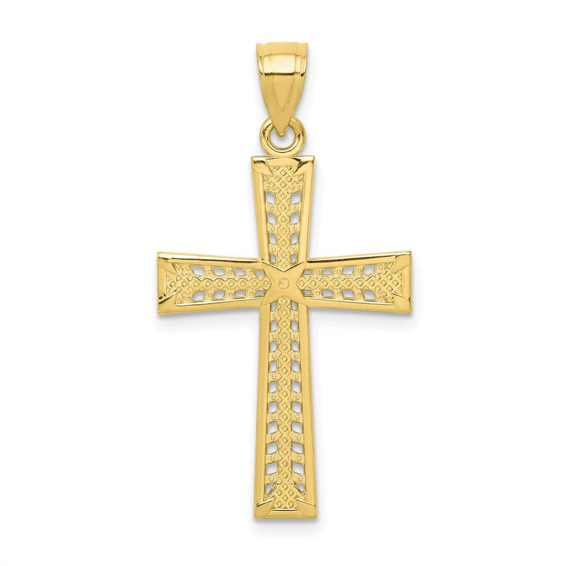 Quality Gold 10k Cross Pendant | Polished | 10K Yellow gold | Textured | Textured back