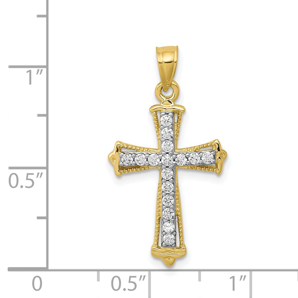 QG 10k CZ Cross Pendant | Traditional Latin Cross Style | Men's | Women's | Pendants & Charms | 10k Yellow Gold | Size 26 mm x 16 mm