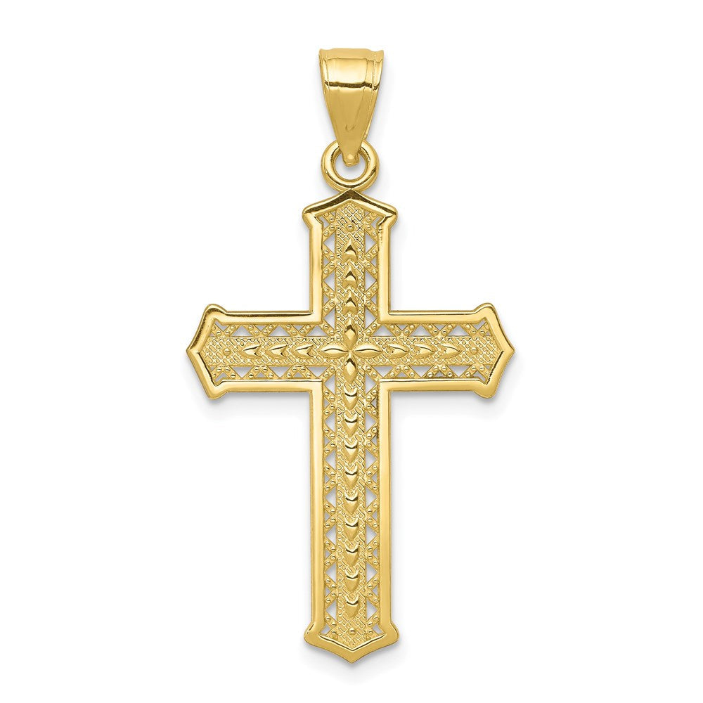 Quality Gold 10k Cross Pendant | Polished | 10K Yellow gold | Textured