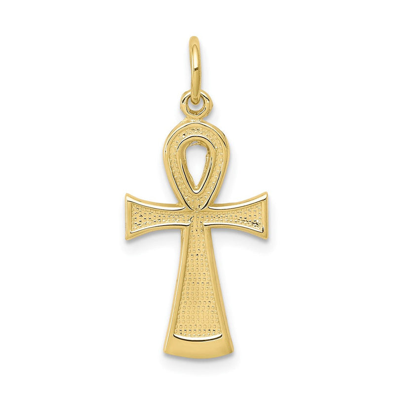 QG 10k Solid Flat-Backed Ankh/Egyptian Cross Pendant | Traditional Ankh Cross Style | Men's | Women's | Pendants & Charms | 10k Yellow Gold | Size 27 mm x 13 mm