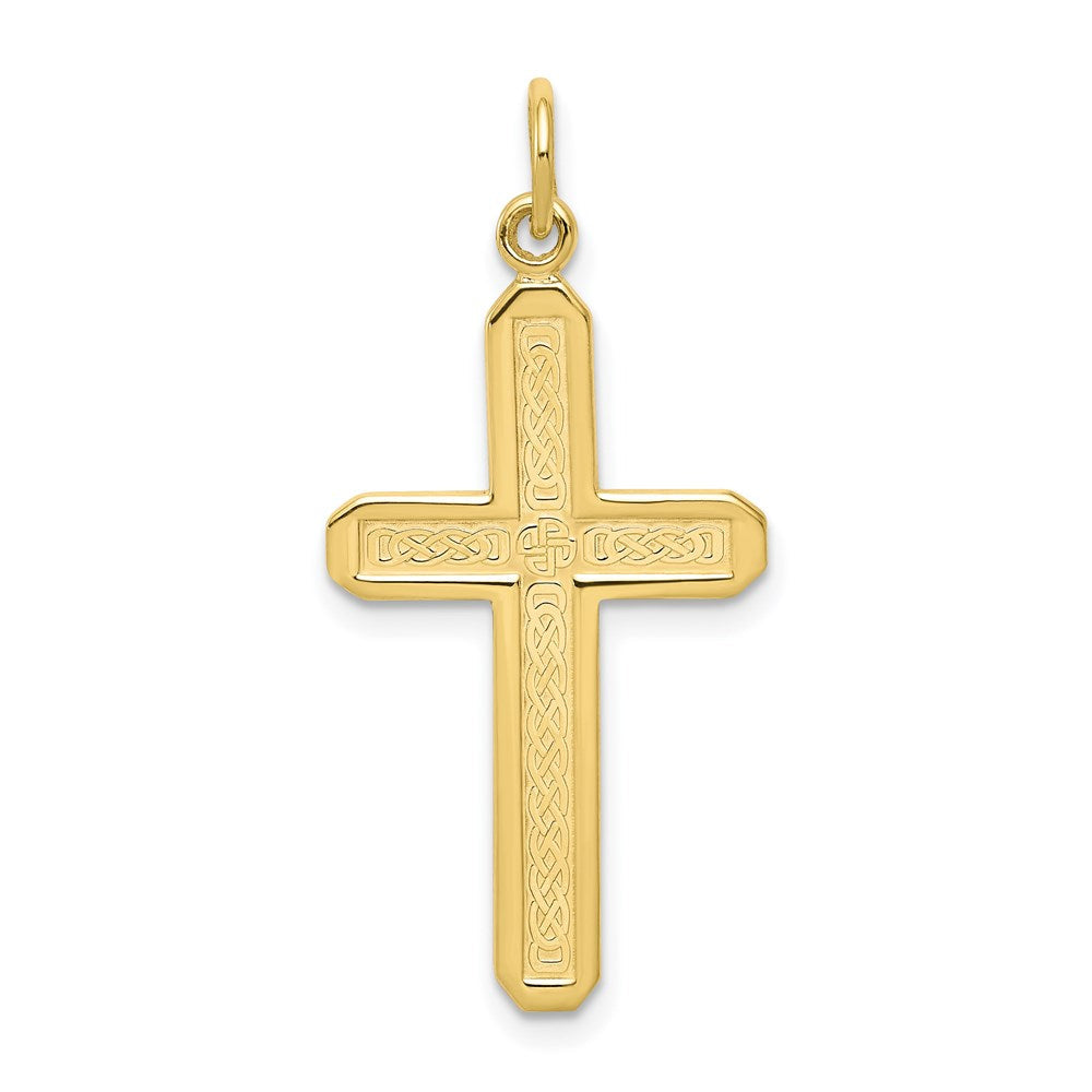 QG 10k Cross Charm | Traditional Latin Cross Style | Men's | Women's | Pendants & Charms | 10k Yellow Gold | Size 32 mm x 16 mm