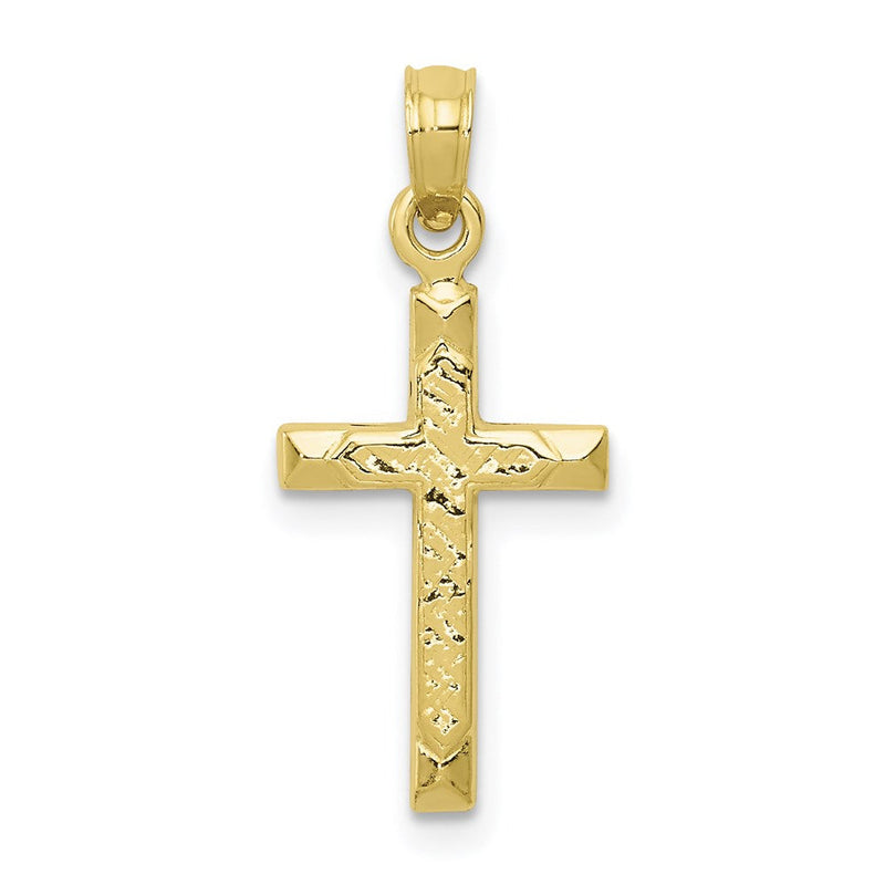 QG 10K Cross Pendant | Traditional Latin Cross Style | Men's | Women's | Pendants & Charms | 10k Yellow Gold | Size 24 mm x 10 mm