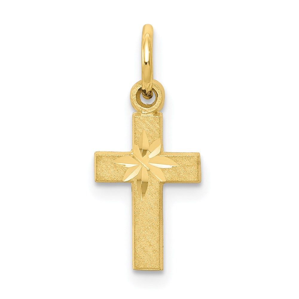 QG 10k Cross Charm | Traditional Latin Cross Style | Men's | Women's | Pendants & Charms | 10k Yellow Gold | Size 20 mm x 11 mm