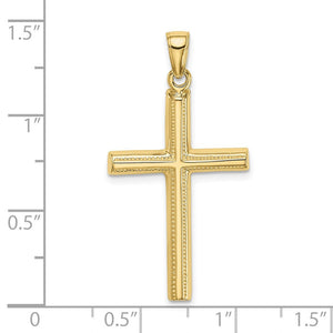 Quality Gold 10K Polished Cross Pendant | Traditional Latin Cross Style | Men's | Women's | Pendants & Charms | 10k Yellow Gold | Size 37.5 mm x 19 mm