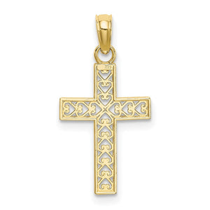 Quality Gold 10k D/C Filigree Cross Pendant | Traditional Latin Cross Style | Men's | Women's | Pendants & Charms | 10k Yellow Gold | Size 22.45 mm x 13 mm