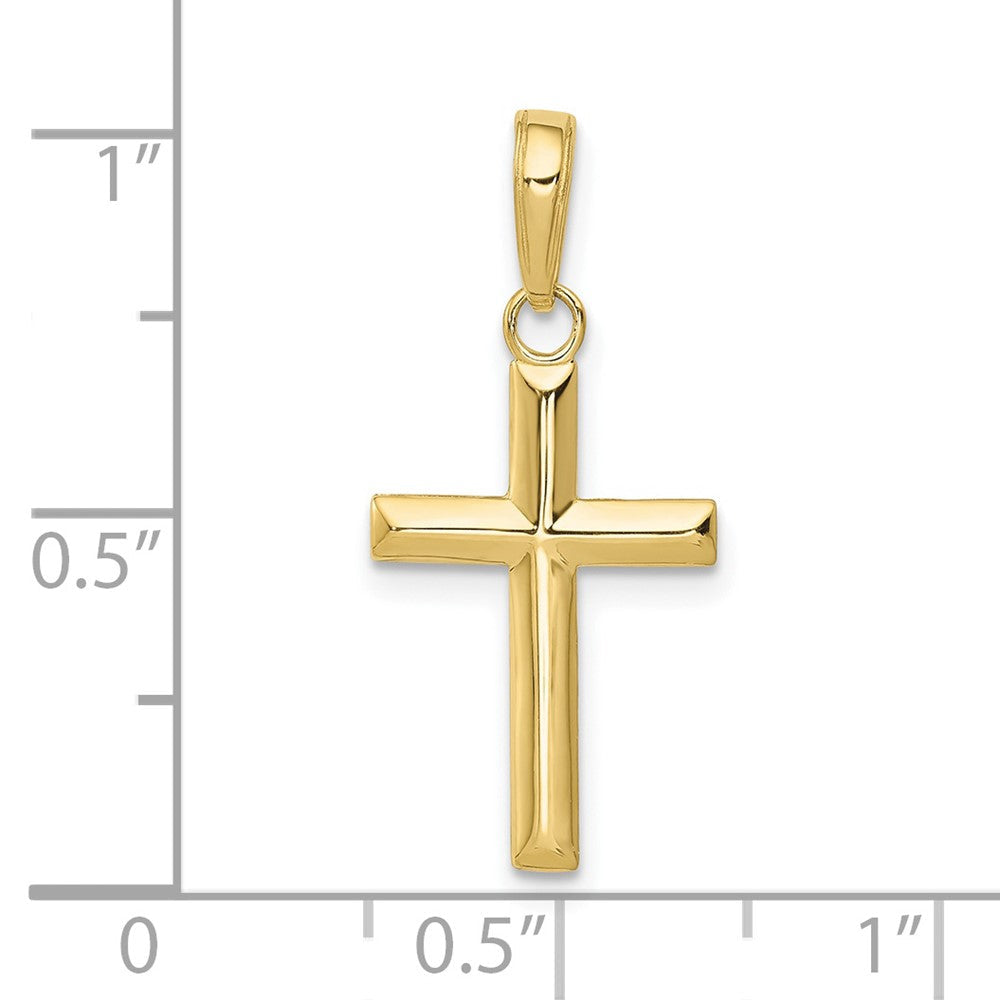 Quality Gold 10K Small Cross Pendant | Traditional Latin Cross Style | Men's | Women's | Pendants & Charms | 10k Yellow Gold | Size 24.5 mm x 11 mm