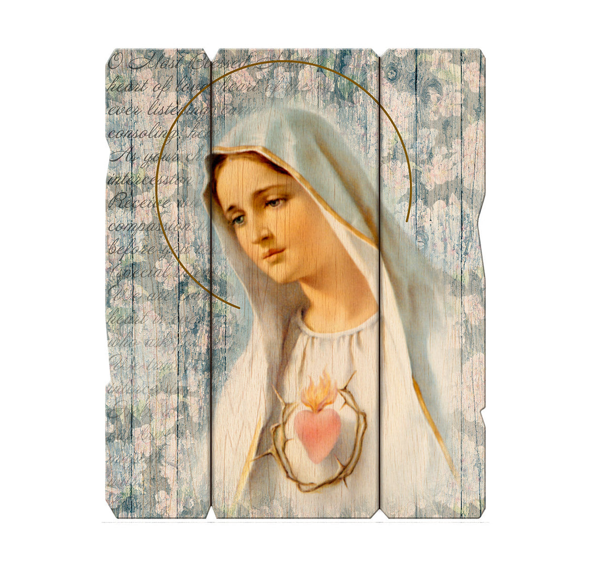 "Immaculate Heart of Mary 11 1/4X14"" Vintage Plaque With Hanger"