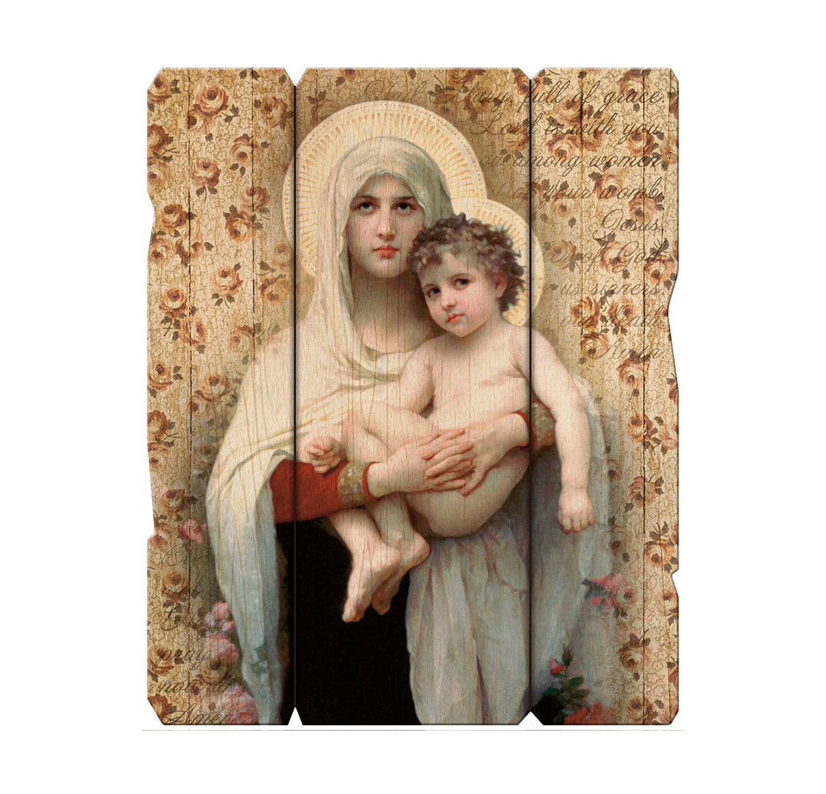 "Bouguereau Madonna of The Roses 11 1/4X14"" Vintage Plaque With Hang"