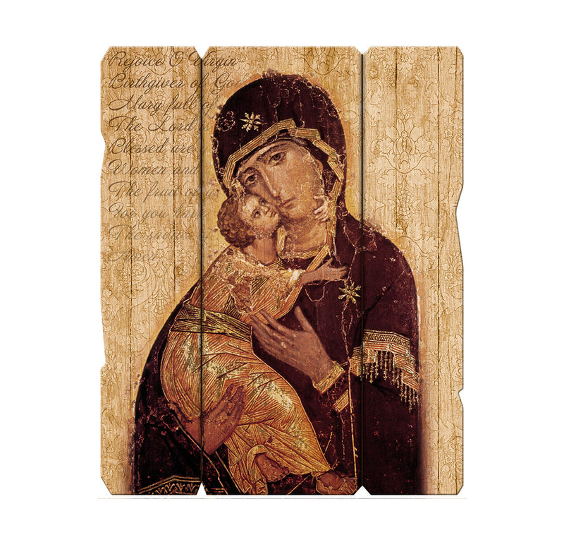 "Our Lady of Vladimir 7 1/2X9"" Vintage Plaque With Hanger"