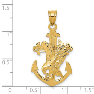 QG 14k Mariners Cross w/Eagle Pendant | Traditional Mariner Cross Style | Men's | Women's | Pendants & Charms | 14k Yellow Gold | Size 35 mm x 20 mm