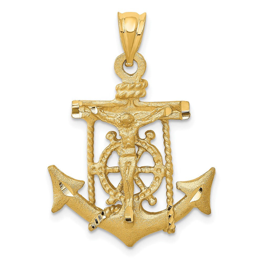 Quality Gold 14k Mariners Cross Pendant | Solid | Casted | Diamond-cut | Satin | 14k Yellow gold